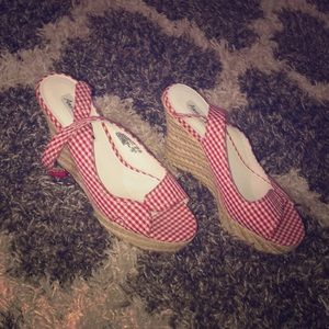American Eagle Red Gingham Espadrille Wedge